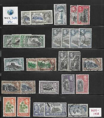 WC1_3483 BRITISH COLONIES. CEYLON. Dealer stock of clean 1935-1938 stamps. Used