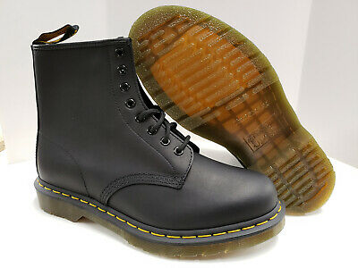 NIB Dr Martens 8 eyelet 1460 Hiker Ankle Lace-Up Boots Black Greasy Leather