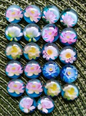 22 Pieces Of 12mm Glass Cabochons Water lily Flower DIY Jewelry Accessories#01#