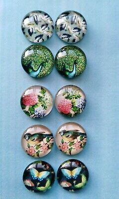 10 Pieces Of 12mm Glass Cabochons Nature Flower DIY Jewelry Accessories#04#