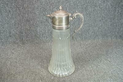 "Glass Pitcher With Silver Plated Lid Made In Italy 14"" Tall"