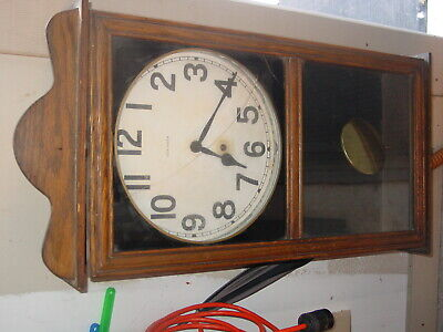"""ANTIQUE """"New Haven"""" wind-up CLOCK in wooden frame, with key, 32"""" tall x 14 3/4""""w"""