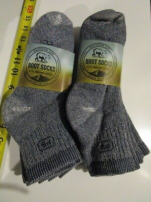 6 Pair Large Outdoor Life 71% Merino Wool Ankle Boot Socks First People Navy USA