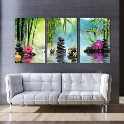 3 Panels Spa Series Of Stone Flowers Green Bamboo Wall Art Canvas Painting