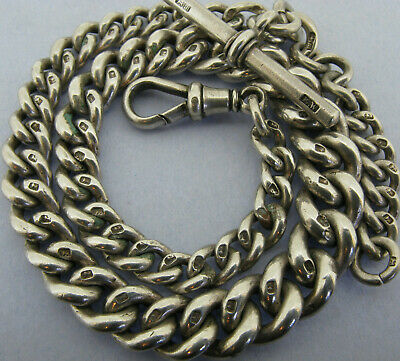 Antique Victorian Solid Sterling Silver Albert Pocket Watch Chain & T-Bar 1886