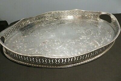 Antique Heavy Silver Plate On Copper Chased Gallery Tray Wave Edge England