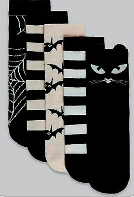 New 5 Pairs Girls Socks Halloween Cat Spooky Marks & Spencer 3-6 Years Black Mix