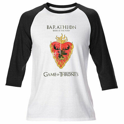 Mens Game Of Thrones Long Sleeve House Baratheon T Shirt Stark Lannister Dragons