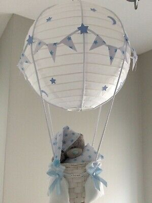 Starry night Hot Air Balloon nursery light shade Blue, made to order.