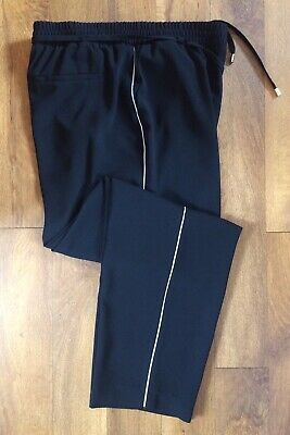 Ladies Black Casual Trousers Size:UK18 By George Elasticated Drawstring Waist