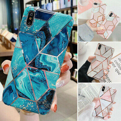 Geometric Marble Case For iPhone X XS MAX XR 8 7 6s Plus Soft Pastel Phone Cover