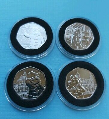 4 x 50p Paddington Bear Set Uncirculated from Sealed Bags in Foam Capsules