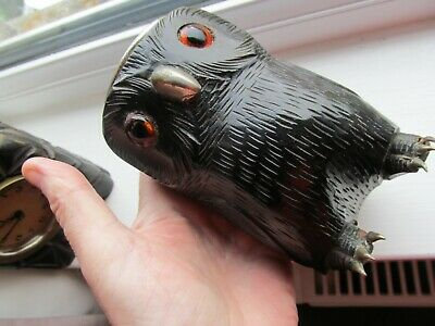 Antique Black Forest Owl Goblet Holder Glass Eyes Claws..a Beauty!