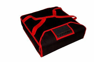 "Pizza Delivery Bag ( Warm & Insulated , Black/Red ) 14"" approx New Improved"