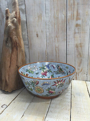 Very Large Old Chinese Ceramic Porcelain Pottery Bowl Floral & Butterflies Motif