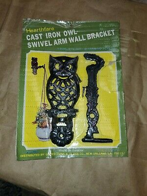 Vintage Retro Cast Iron OWL SWIVEL ARM WALL BRACKET For Macrame, Hearthfare