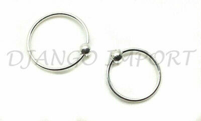 Sterling Silver Ball Nose Ring Hoop 8mm Small Thin Piercing Stud Body Jewellery