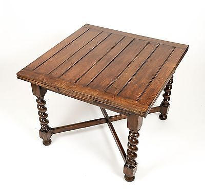 Large Extending Draw Leaf Barley Twist Solid Oak Dining Antique Table Furniture