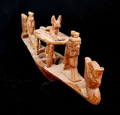 Egyptian Antique Funerary After Life Boat Anubis & Horus God W/T Hieroglyphics