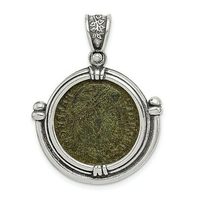 Sterling Silver Antiqued Roman Bronze Coin Pendant.