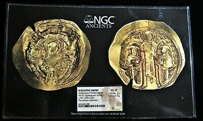 Andronicus II Palaeologus and Michael IX (AD 1294-1320). AV/EL hyperpyron. NGC.