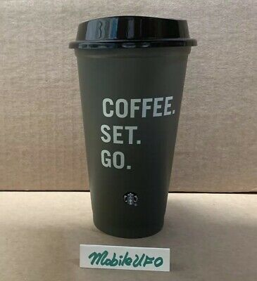 Brand New 2019 Starbucks Coffee Reusable Green Plastic Cup Coffee Set Go 16oz