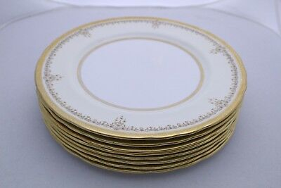 Set of 8 AYNSLEY England Bone China B3233 White Gold Encrusted Dinner Plates