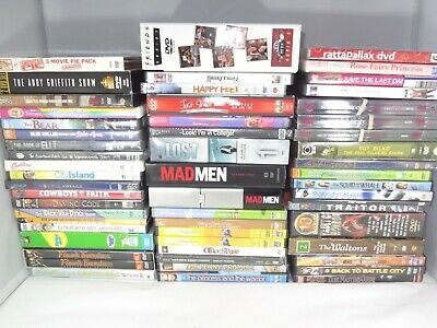 Lot of 50 + DVDs  Mad Men Monty Python Just Shoot Me Waltons Friends Family Guy