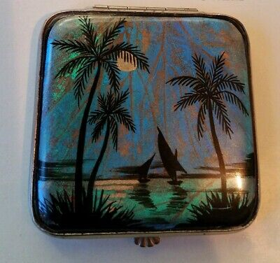 Vintage Butterfly Wing Gwenda Powder Compact. Hawaii Palm Trees Full Moon Sail