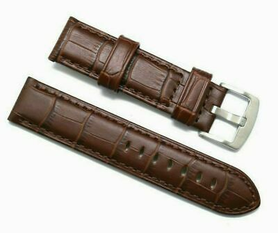 22mm Replacement BROWN Alligator Grain Leather Heavy Watch Strap - TW Steel 22