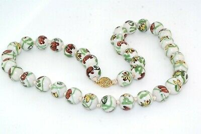"""Flower Lovers Vtg Chinese Hand Painted Enamel Porcelain 14mm Bead 24"""" Necklace"""