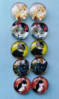10 Pieces Of 12mm Glass Cabochons Cat Lover DIY Jewelry Accessories#06#