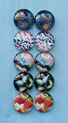 10X  12mm Glass Cabochons Nature Abstract Art  DIY Jewelry Accessories#08#