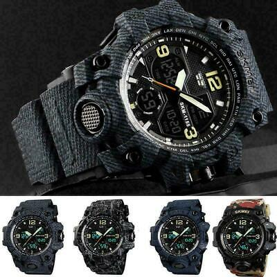 Army Military Waterproof Sport Men's Quartz LED Analog Watch Wrist Digital D4P0