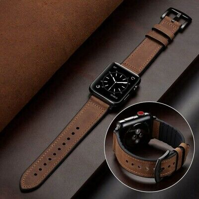 For Apple Watch Series 5/4/3/2/1 Silicone&Leather Strap iwatch Band Belt 40/44mm