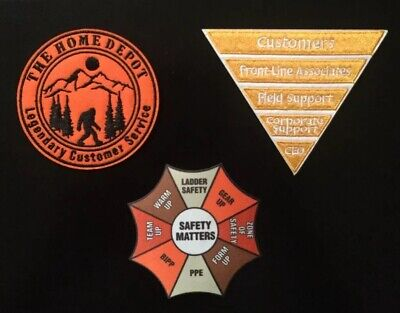 Home Depot Apron Badge: Lot Of 3 Rare Patches Sasquatch Safety Inverted Pyramid