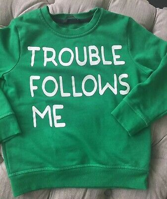 AGE 5- 6 YEARS BOYS GEORGE ASDA TOP JUMPER GREEN LOGO SWEATER Slogan Sweatshirt