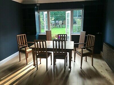 Large Victorian oak extendable dining table, 5 chairs inc. 2 carvers