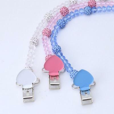 Crystal Baby Clip Soother Nipple Leash Strap Chain Dummy Feeding Pacifier JA