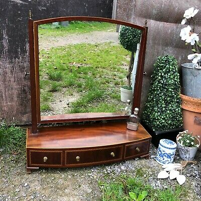 Beautiful Antique Bow Regency Mahogany Inlaid Swing Table Mirror With 3 Drawers