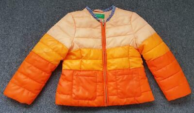 Girls Padded Hooded Winter Coat/Puffa Jacket From Benetton, 2 Yrs, Oranges