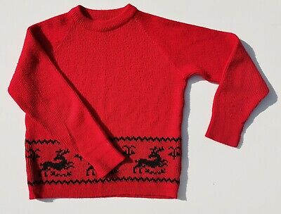 Vintage 70s St Michael Bright red knit reindeer motif xmas Jumper age 10 11