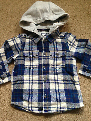 BNWT NEXT Boys Blue Grey Lined Hooded Checked Shirt 12-18 Months