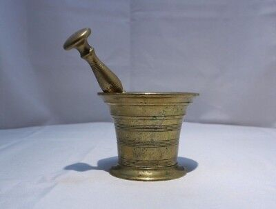 Antique Turner & Co Hand Made Brass Apothecary Mortar Pestle Herb Spice Grinder