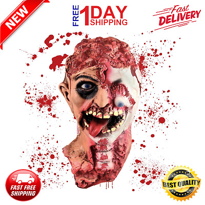 Severed Bloody Rat Girl Zombie Puppet Head Prop Halloween Haunted House Cut Off