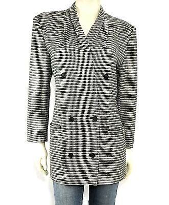 Vintage Max Mara Blazer Jacket Womens US 6 Houndstooth Check Pleated Wool Italy