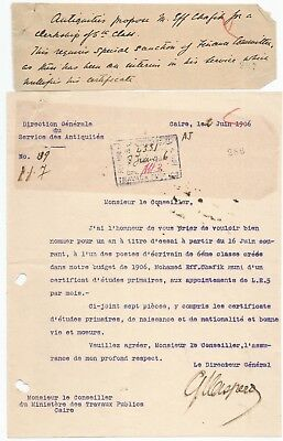 Egypt Ägypten 1906 Rare Letter Signed By France Gaston Maspero Lot 7