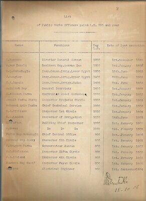 Egypt Ägypten 1906 Rare Document Showing That Maspero Was The Highest Salary