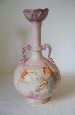 Large Victorian Pottery Vase with two Handles & Pink Floral Decoration