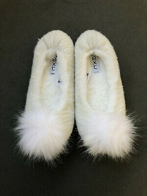 Next Girls Fluffy Cream/White Slippers With Pom Pom Size 10 - Unworn